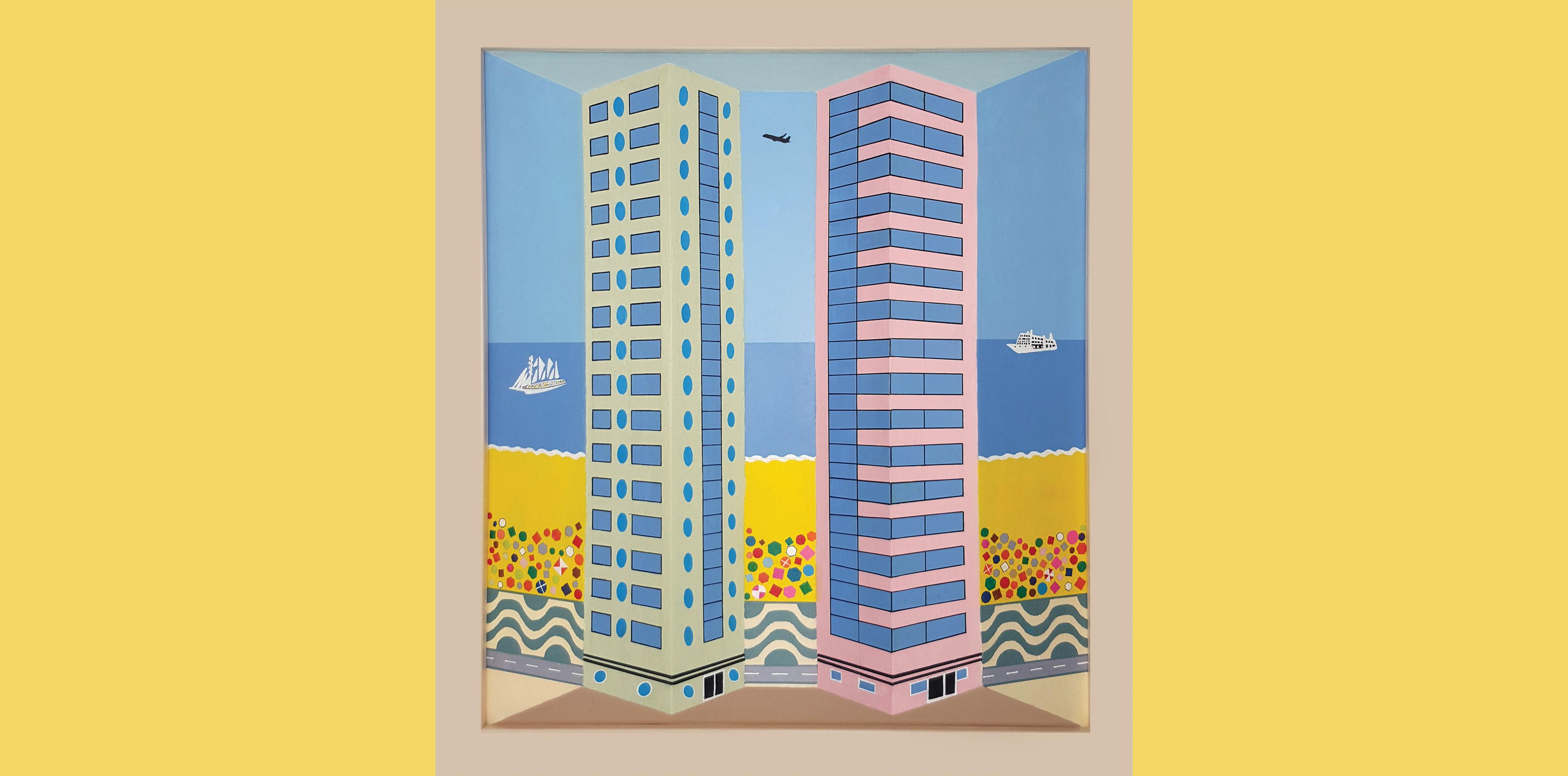Tower-Blocks-on-Copacabana-Beach,-Rio---Landscape