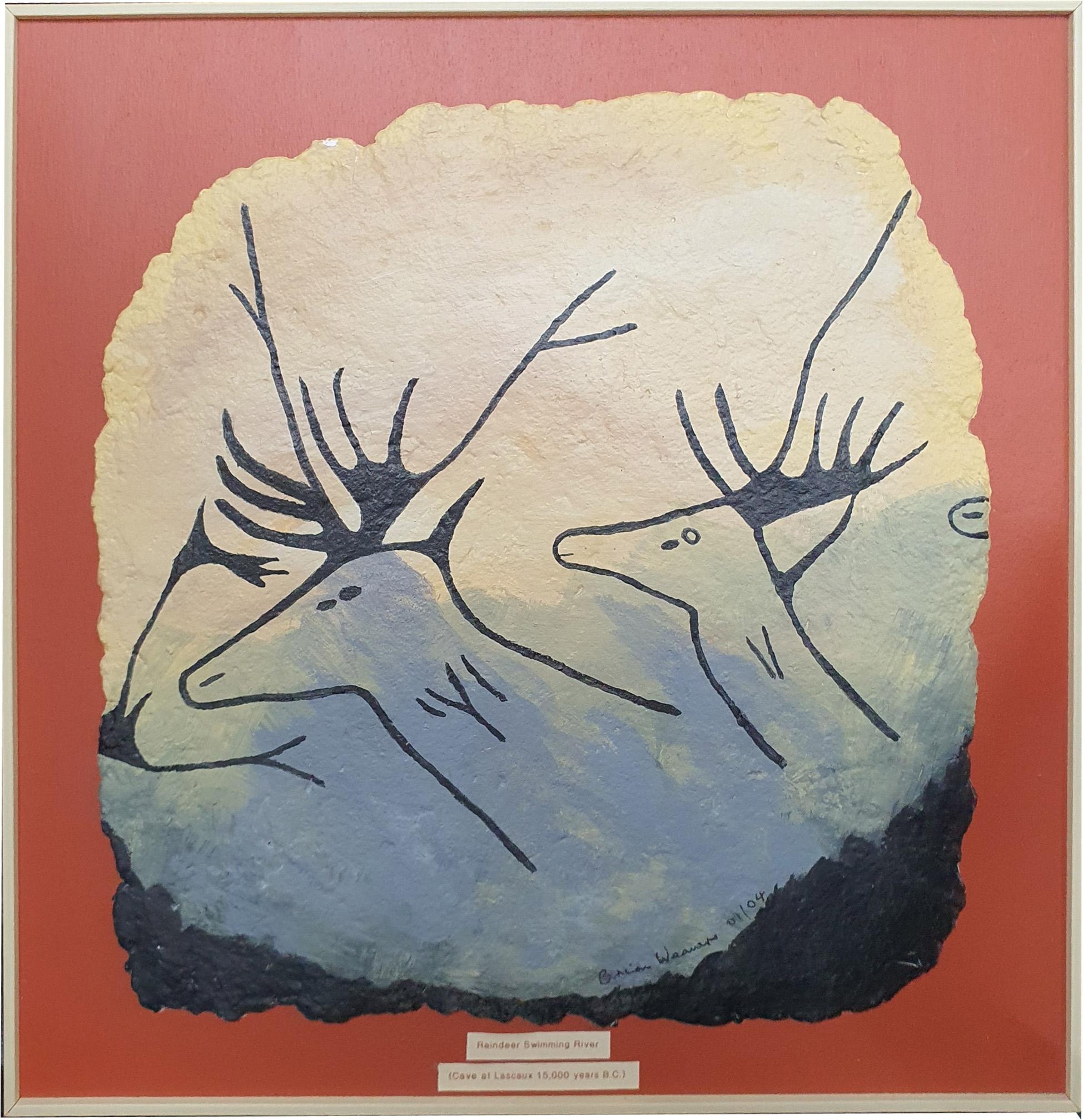 Cave Painting no. 5 - Reinedeer Swimming River - Brian Weavers Artist