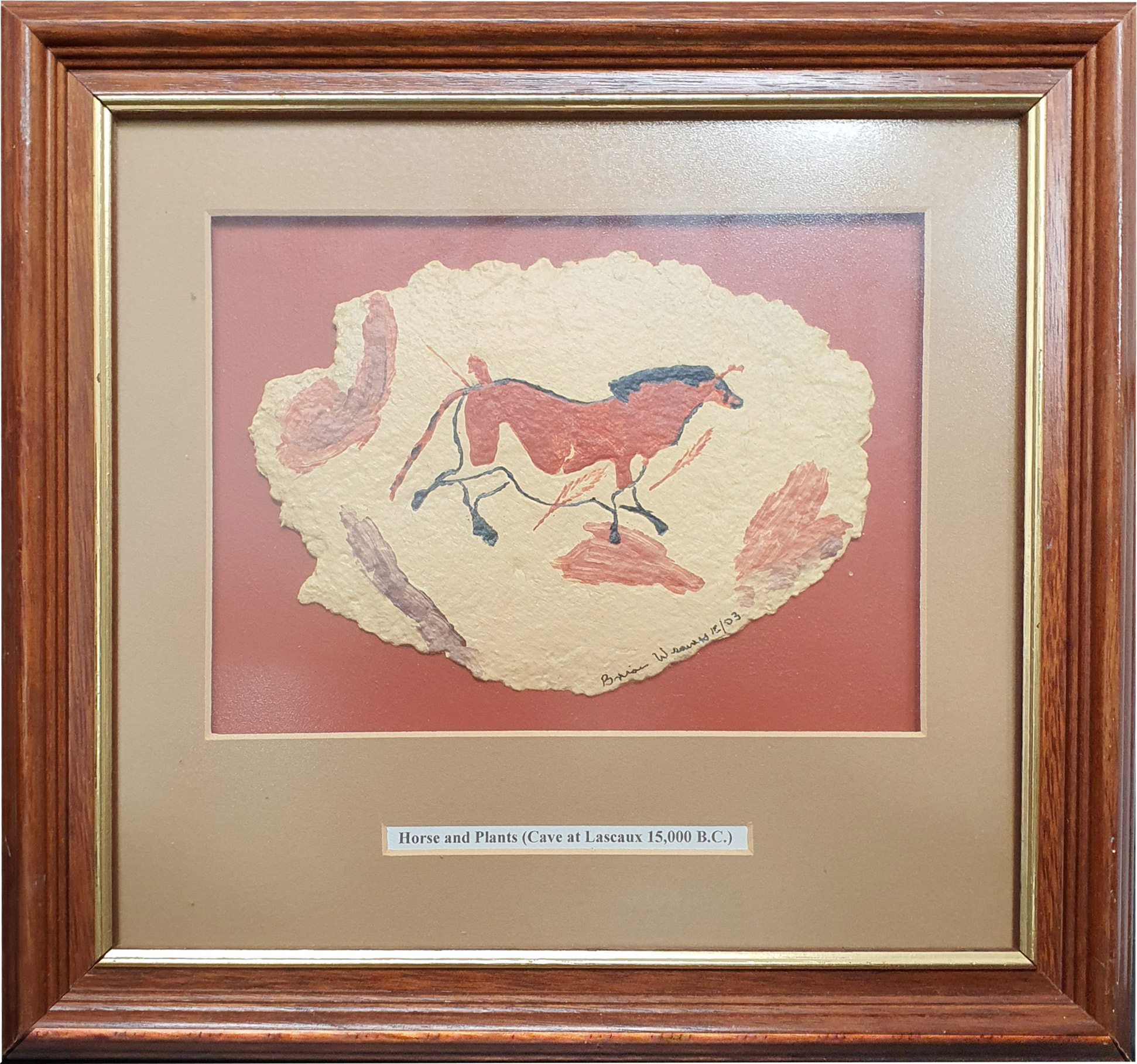 Cave Painting no. 6 - Horse & Plants - Brian Weavers Artist